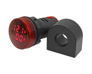 Indicador Digital Amperímetro e Voltímetro Vermelho VA20-2R 22mm Metaltex